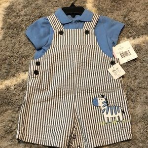 2 piece Little Me overalls & polo, Size 9M, NWT!